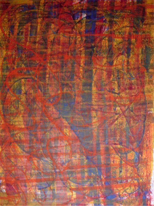 untitled 1992 (colours' experiment) Gouache on Drawing Paper, fixed, Size:  ca. 100 x 70 cm