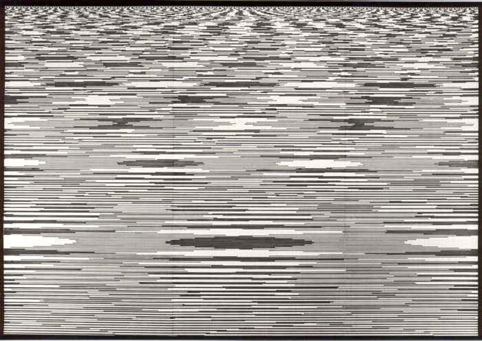 Chaos und Ordnung 2, 1994. Filzstift und Tipp-Ex auf Millimeter-Papier 53,5 x 77 cm (montiert auf Fotokarton 70 x 100 cm)