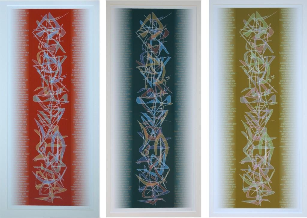 """3 Beispiele aus """"Die Zahlen von """"1"""" bis """"32"""", 2005 (Multiple). Inkjet-Print auf Fotopapier, Auflage: 5 Ex. Format: 80 x 33 cm"""