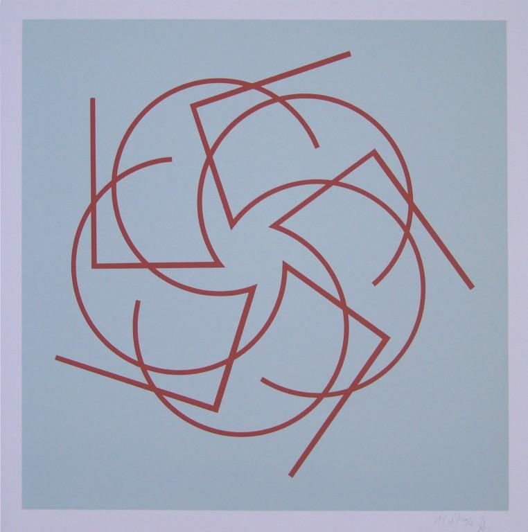 o.T. (die Fünf), 1994. Siebdruck auf Offsetpapier (in Kleinstauflage), Format: 70 x 50 cm