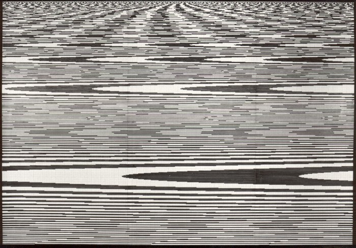 Chaos und Ordnung 1, 1994. Filzstift und Tipp-Ex auf Millimeter-Papier 53,5 x 77 cm (montiert auf Fotokarton 70 x 100 cm)