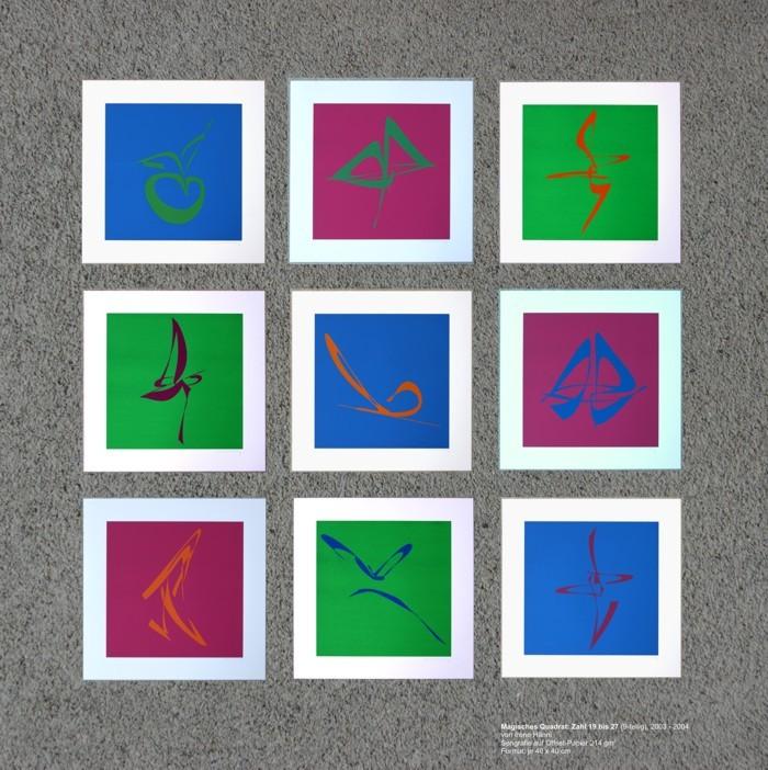 Zahl 19-27,  Magisches Quadrat:, 2003-2004. Unikat, Siebdruck auf Offsetpapier (einzelne Zahldrucke in Kleinstauflage), Format: 9x 40 x 40 cm