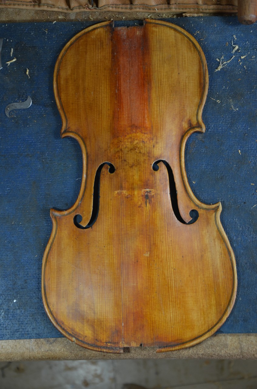 violintop after cleaning