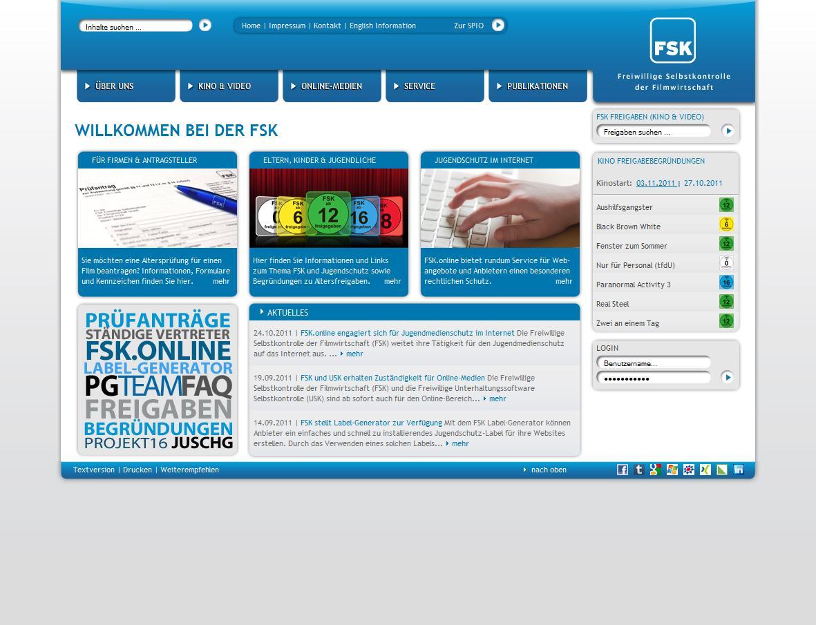 FSK-Homepage: Fotos, Grafiken, Texte und Menüstruktur für die Startseite