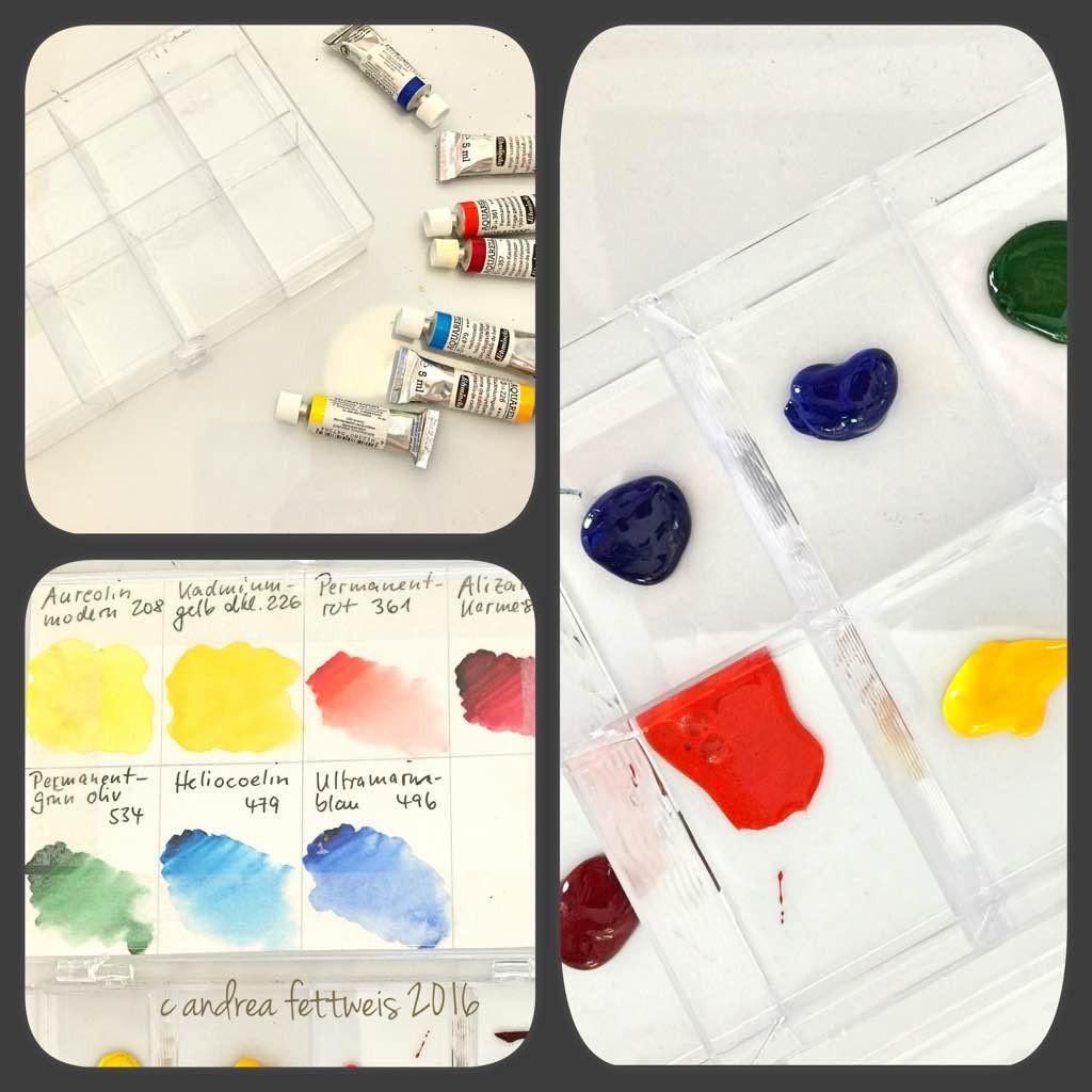 Preiswerter Aquarellkasten mit Farben in einer Sortierbox
