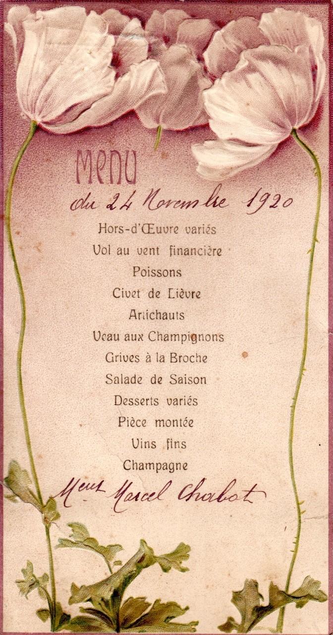 un menu au hameau de Thouzon en 1920. (Bon appétit !) (Archives Chabot-Péron)