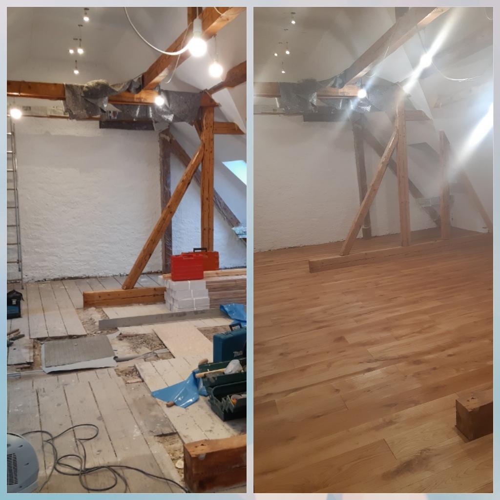 Ausbau eines Dachbodens. Neue Eiche Dielen geölt