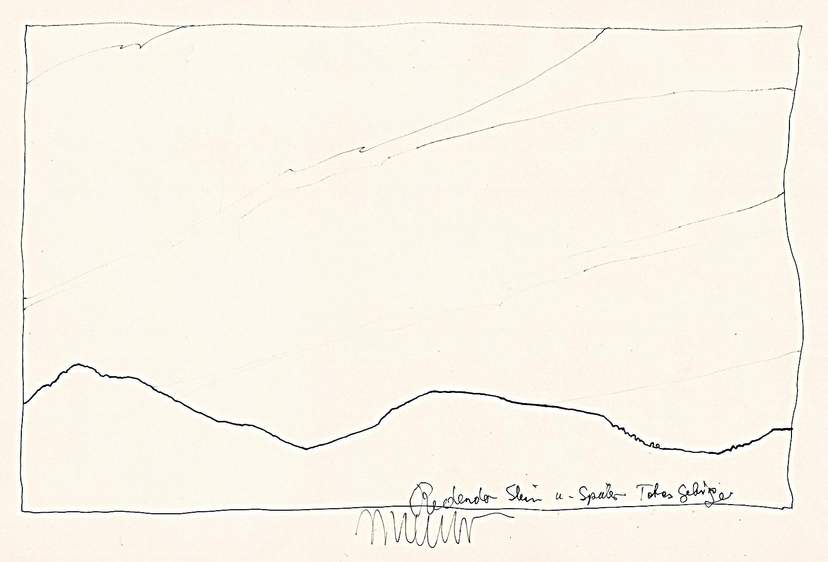 Redender Stein, Totes Gebirge Nr. 136, 1987, Stahlfederzeichnung, Tusche auf Papier, 28 x 42 cm © Josef Taucher