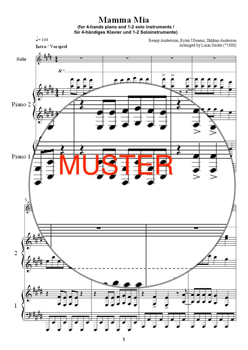 Mamma Mia (ABBA), Klavier 4-händig + Soloinstrumente