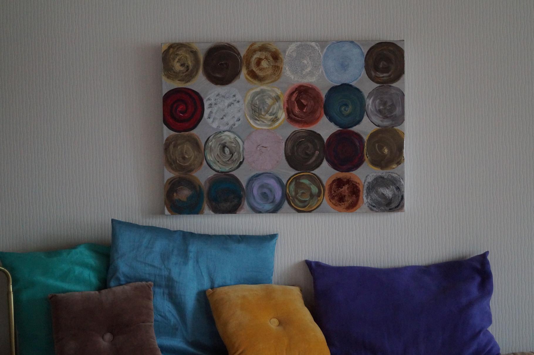 bunte Kreisel - 70 x 50 cm - Acryl