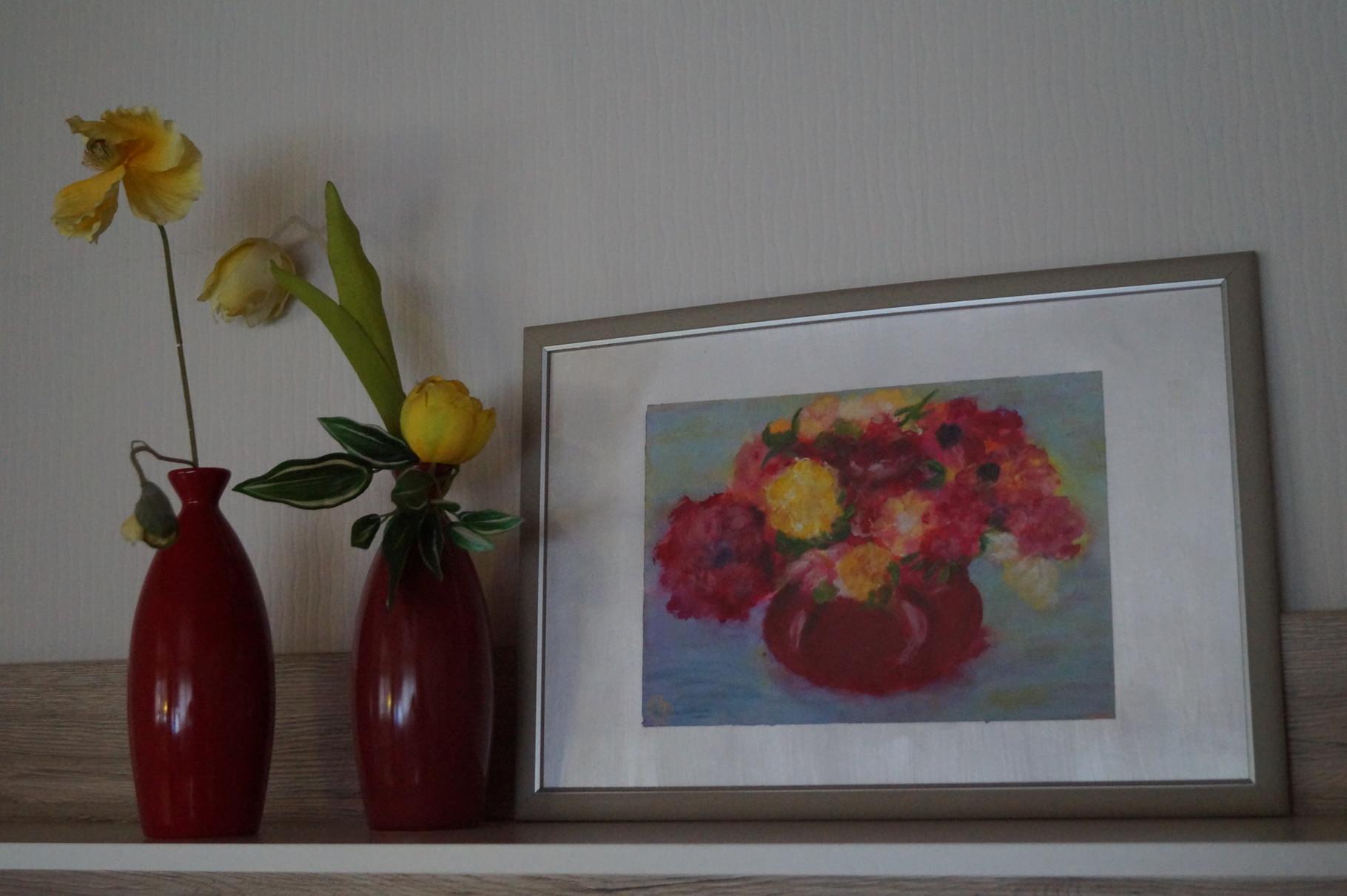 Blumenvase im Rahmen - 48 x 33 cm incl. Rahmen - Acryl