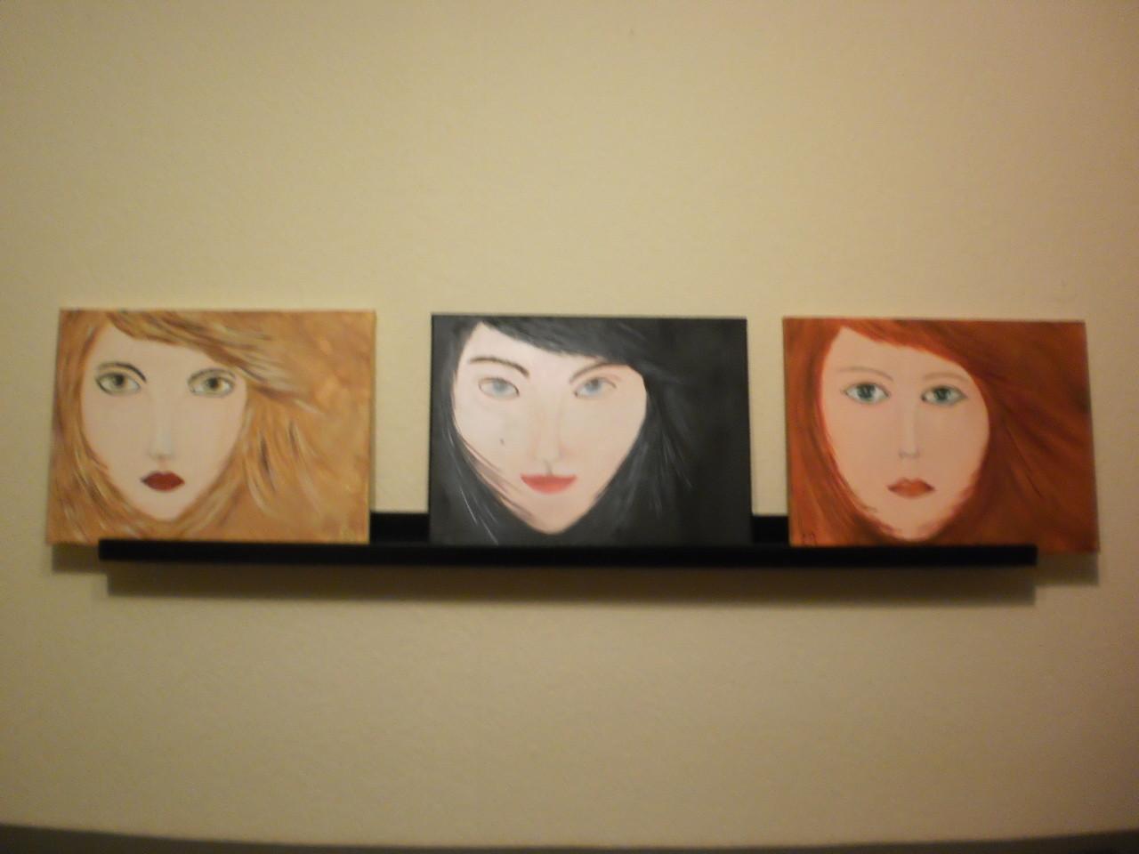 Frauenköpfe - 3 Stück je 40 x 30 cm - Acryl