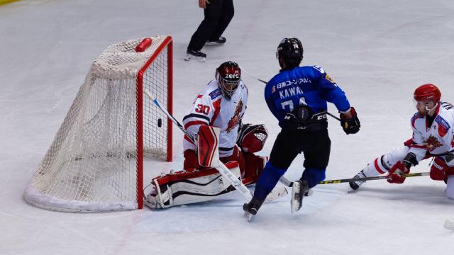 アイスバックス vs チャイナドラゴン: 河合選手のドライブからゴールを破ったがノーゴール