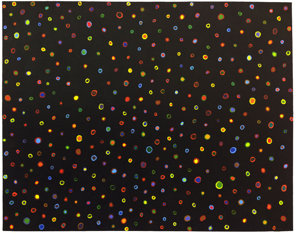 Night Sky 2002  Acrylic on matt board  11 x 14.5""