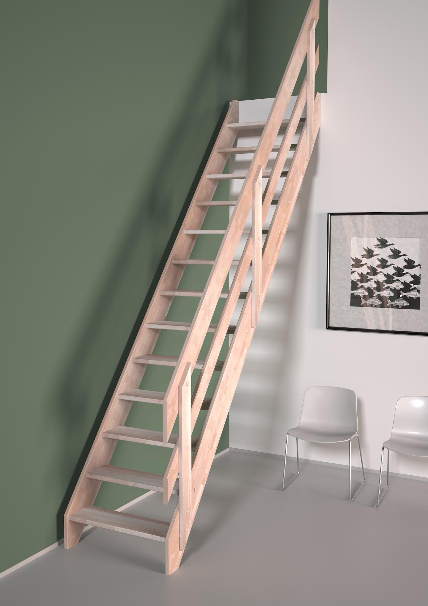 Alsace escalier droit et rampe à lisses