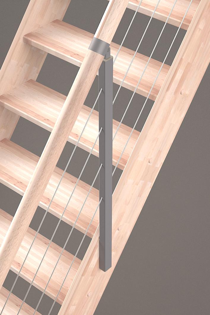 Détails rampe à câbles escalier Alsace