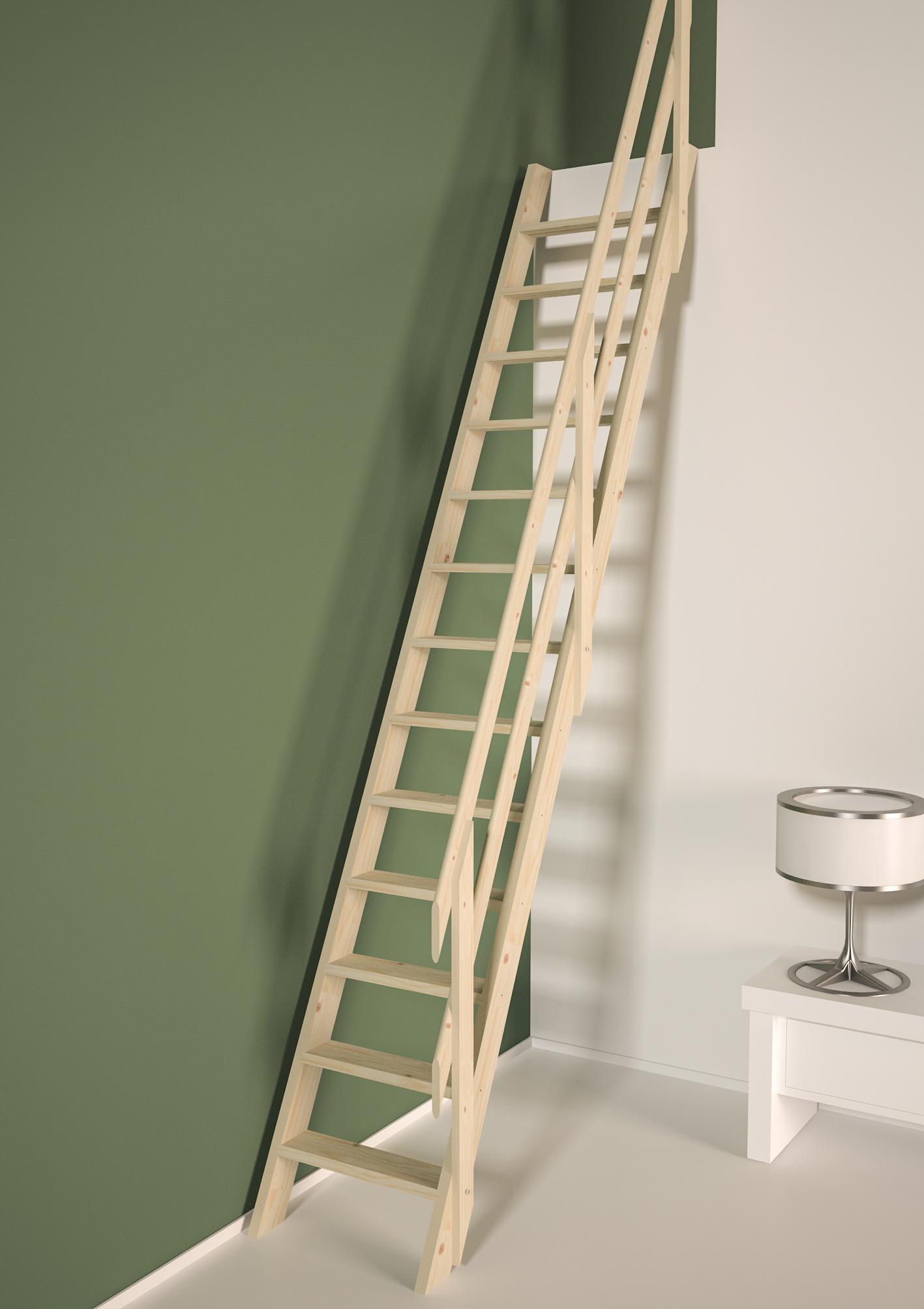 Cottage PREMIUM escalier droit et rampe à lisses
