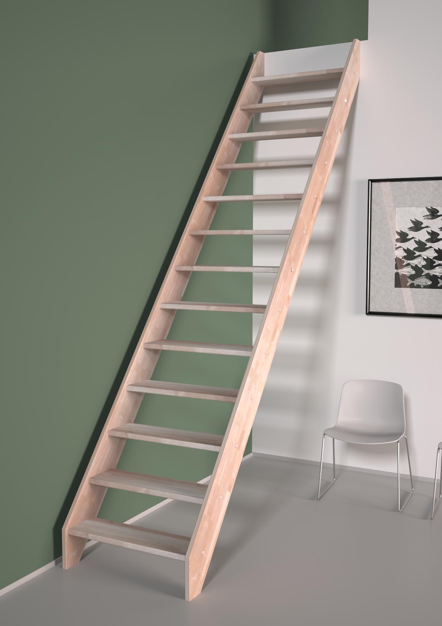 Alsace escalier droit sans rampe