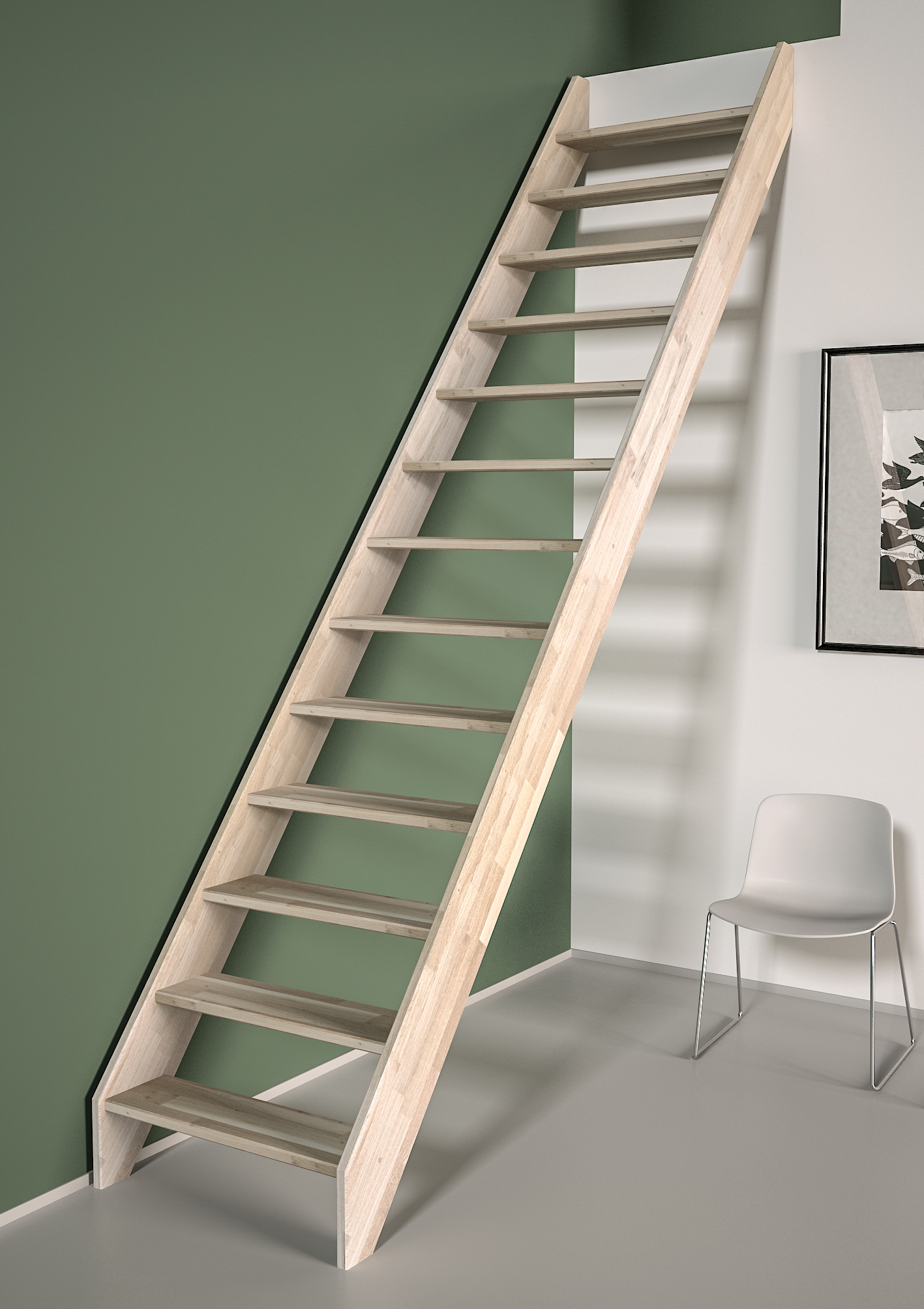 Ardennes escalier droit sans rampe