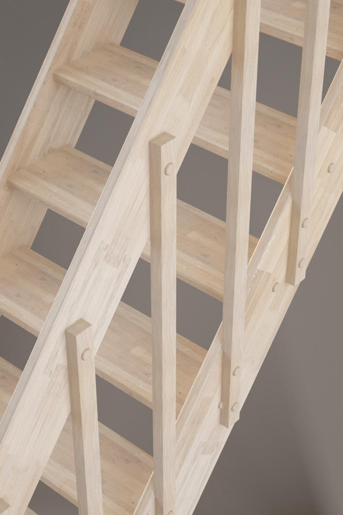 Détails rampe à balustres escalier Ardennes