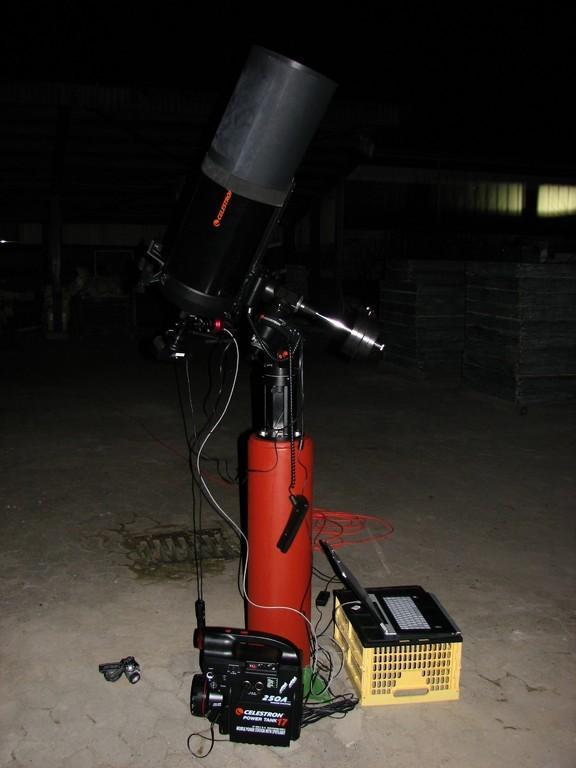 C9.25 (CG-5GT) auf Stahlhohlprofil-Säule mit Betonfüllung bei Langzeitfotografie mit DSLR und Autoguider
