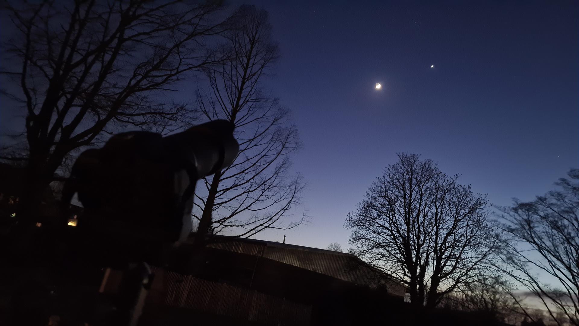 Aufnahme der Mond-Venus-Begegnung