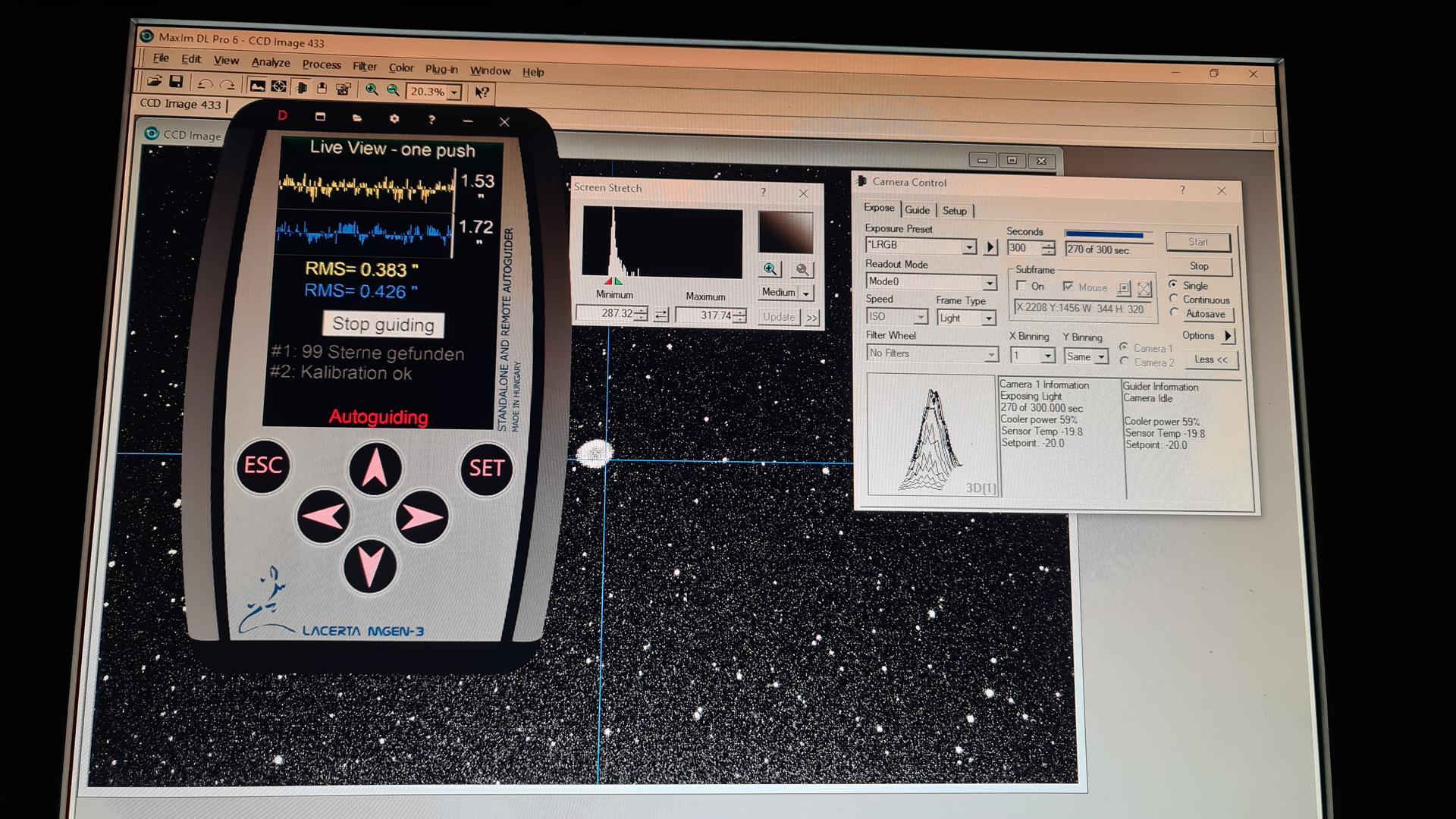 Deep-Sky-Aufnahme und Guiding-Kontrolle via PC