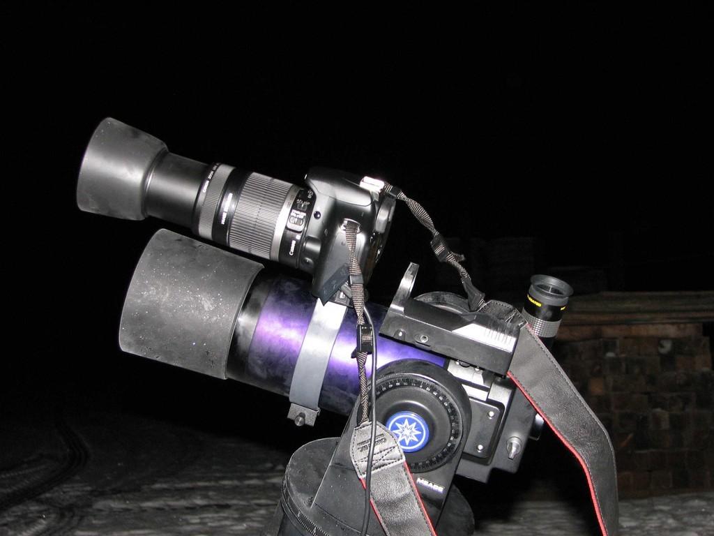 Canon EOS 450D huckepack auf Meade ETX-90 PE