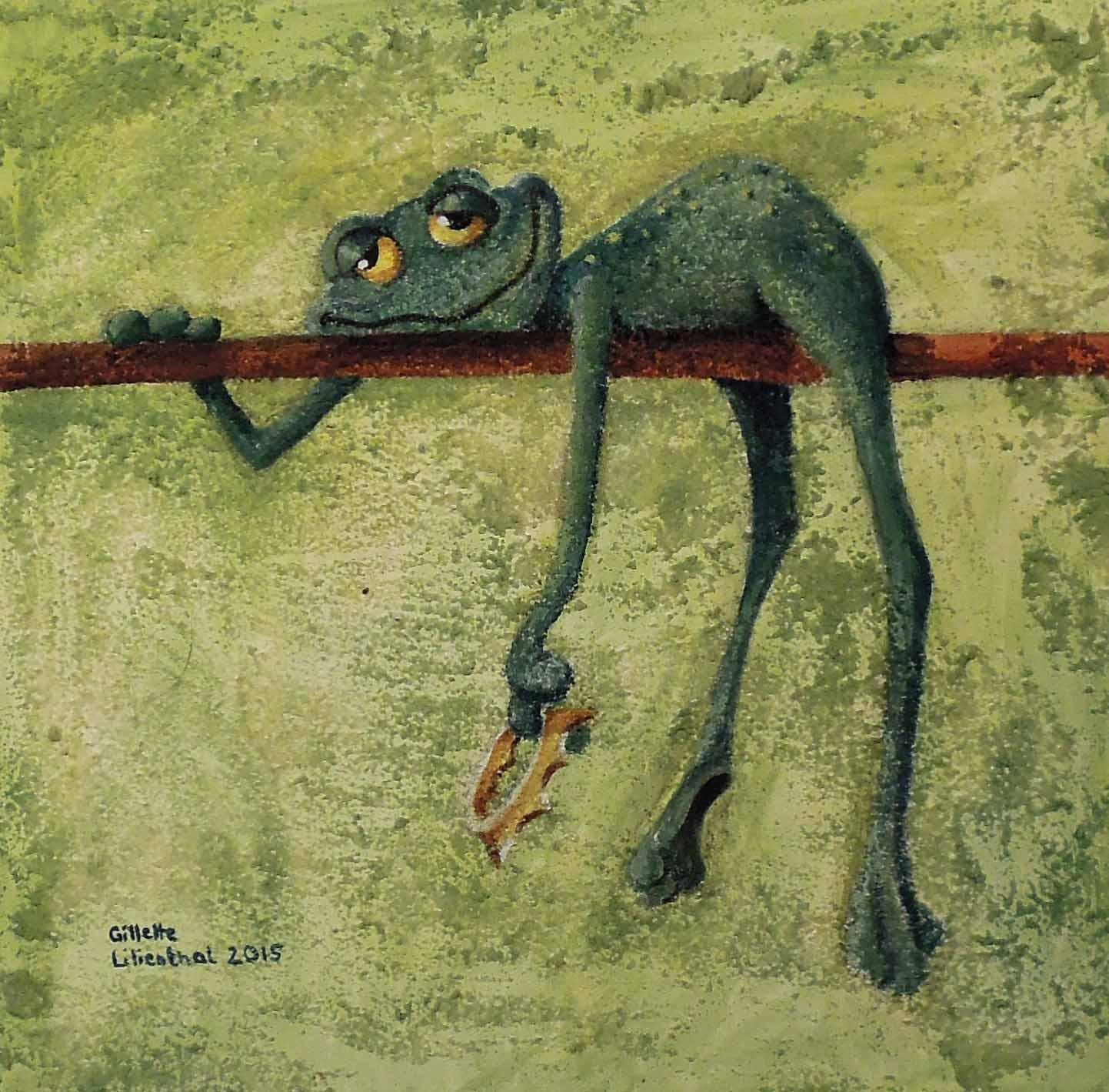 Frosch auf Ast - Öl mit Sand auf Leinwand 30 x 30 cm