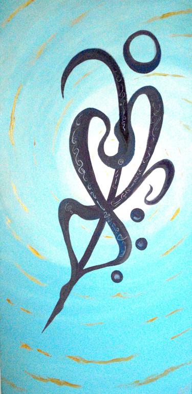 Danser dans la lumière - huile et acrylique sur toile 50x100-