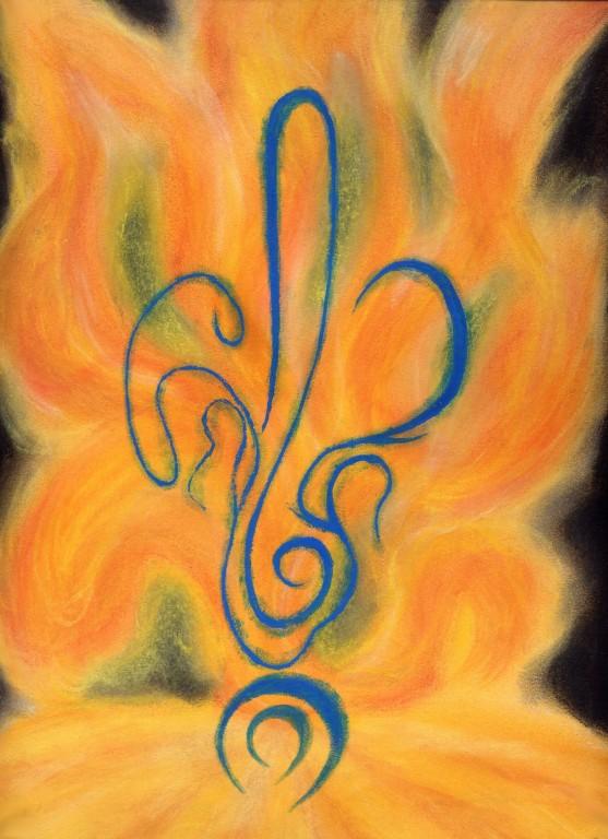 Le feu - 25 x 33 pastels secs sur papier-