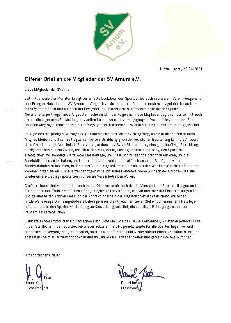 Offener Brief an die Mitglieder der SV Arnum e.V.