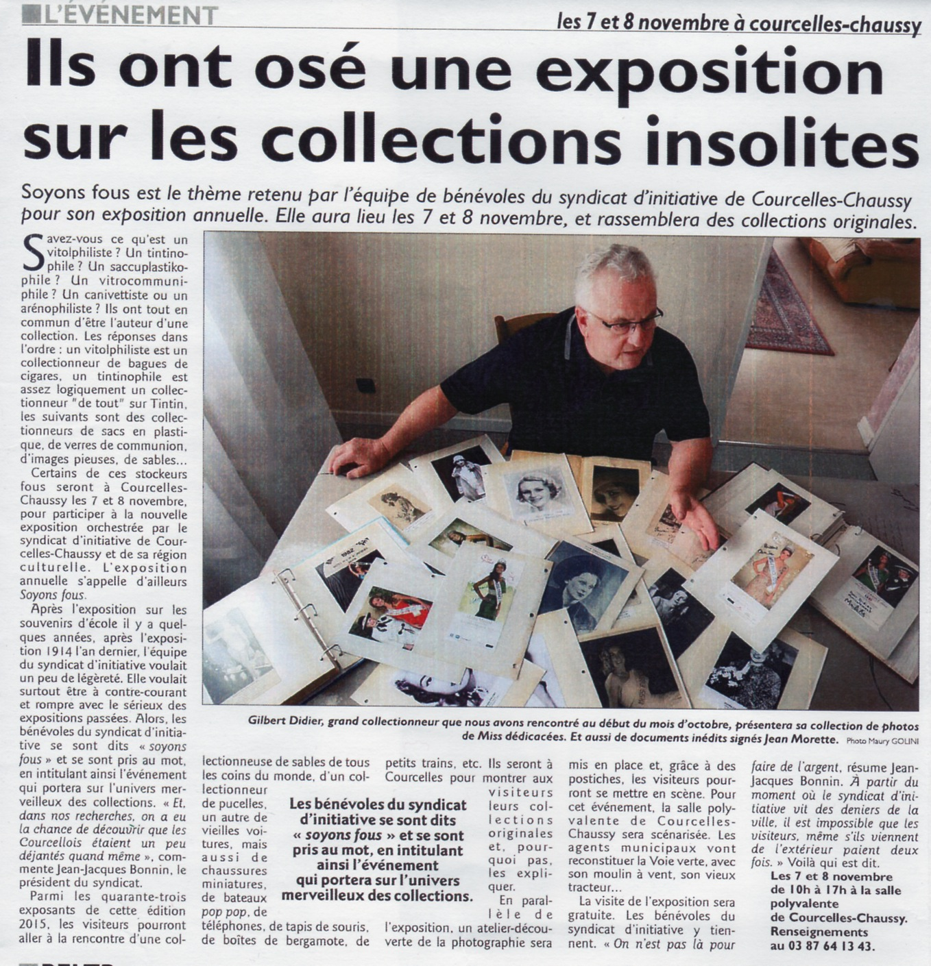 "Exposition ""Soyons fous, collections insolites"", novembre 2015"
