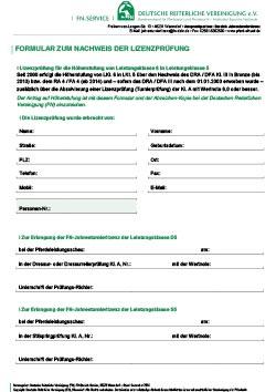 Formular zum Nachweis der Lizenzprüfung
