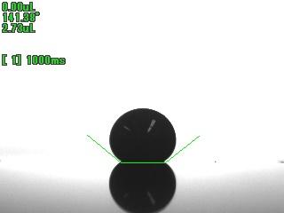 水銀 2.73μLの接触角画像