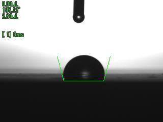 着液1/60秒後の接液画像 PTFE