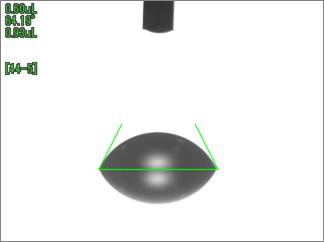 水の接触角(UV照射前)アクリル