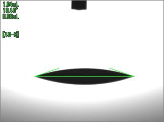 水の接触角(UV照射時間300sec)ABS