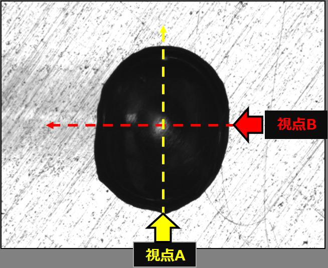 画像①. 上面から見た液滴