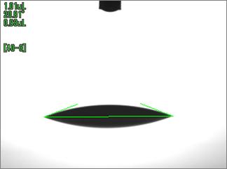 水の接触角(UV照射時間300sec)ポリカ