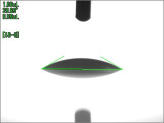 水の接触角(UV照射時間300sec)アクリル