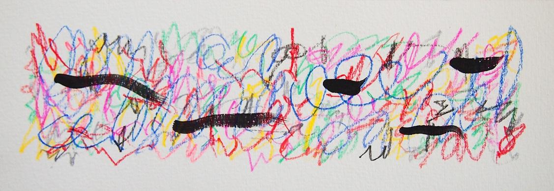 無題 210430 アクリル絵具、色鉛筆、水彩紙 90×256mm (ドローイング)