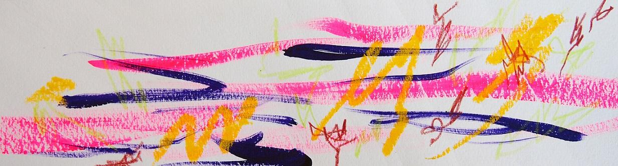 無題 210920 アクリル絵具、色鉛筆、オイルパステル、水彩紙 76×270mm
