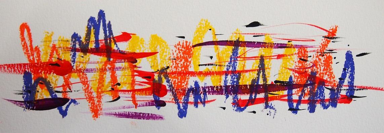無題 210618 アクリル絵具、オイルパステル、水彩紙 94×269mm