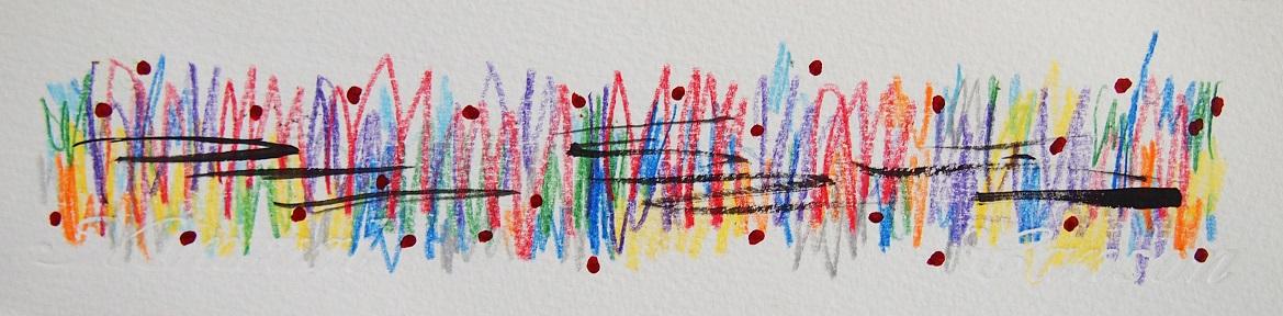 無題 210427 アクリル絵具、色鉛筆、水彩紙 60×231mm (ドローイング)