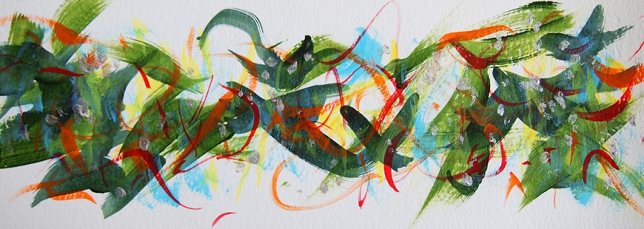 Untitled 210523,  Acrylic on paper,  95×260mm
