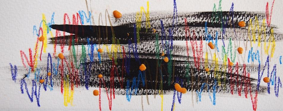 無題 210606 アクリル絵具、色鉛筆、水彩紙 101×255mm