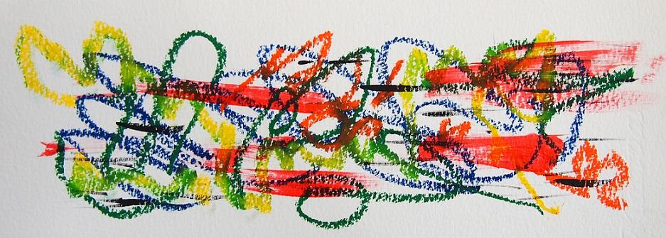無題 210613 アクリル絵具、オイルパステル、水彩紙 95×262mm