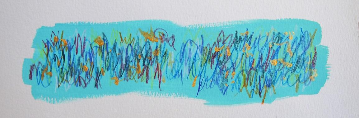 無題 210503 アクリル絵具、色鉛筆、水彩紙 90×256mm (ドローイング)