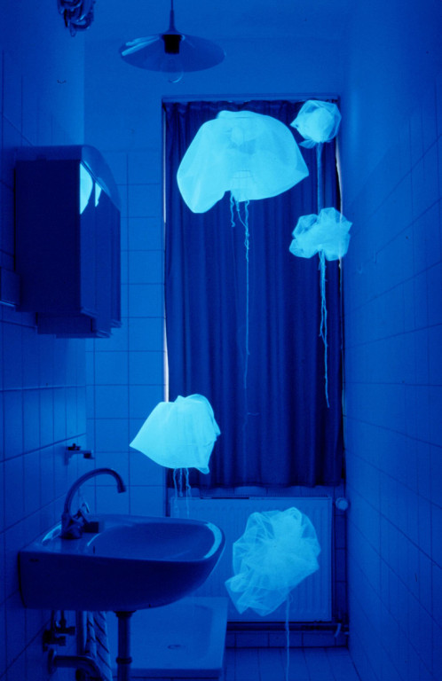 Aquarium (1999, mixed media: black light, drapery, lampshades etc.)